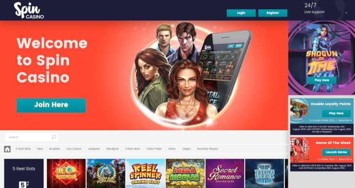 Spin Casino home page